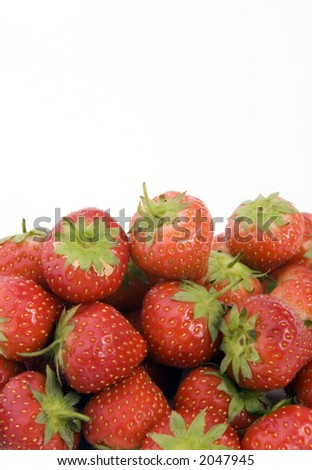 Ripe Strawberry's shot against a plain background.