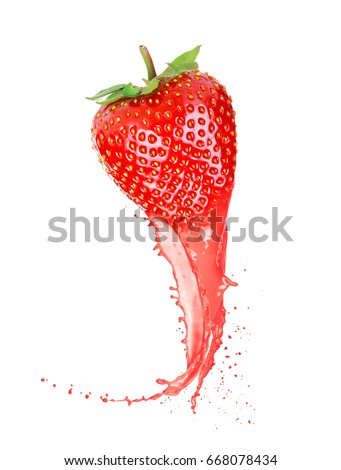 Ripe strawberry with juice isolated on white background
