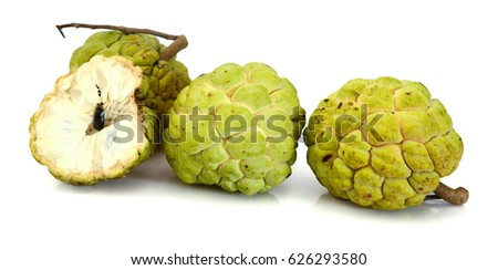 Ripe Sugar Apple fruits isolated on white background