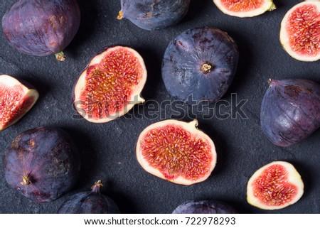 Ripe sweet figs . Healthy mediterranean fig fruit . Top view  #722978293