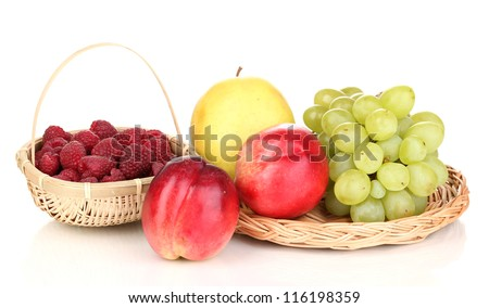 ripe sweet fruits and berries isolated on white