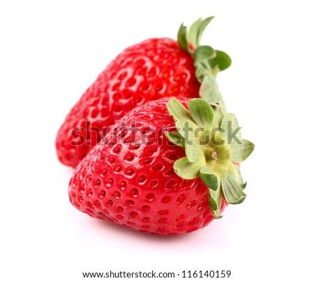 Ripe sweet strawberry in closeup