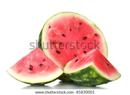Ripe sweet watermelon isolated on white