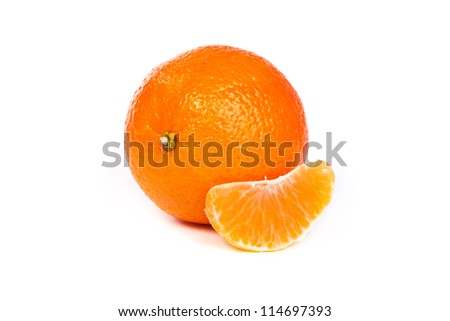 Ripe tangerines or mandarin with slice isolated on white background