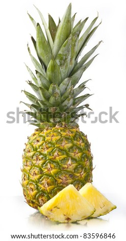 Ripe tasty pineapple on a white background.