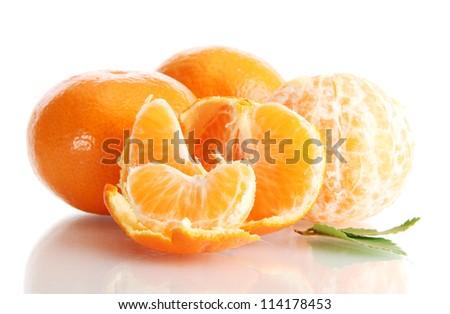 Ripe tasty tangerines isolated on white