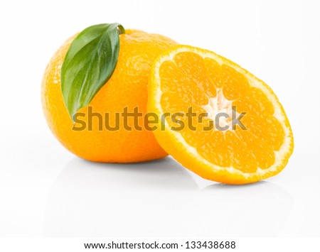 Ripe tasty tangerines isolated on white