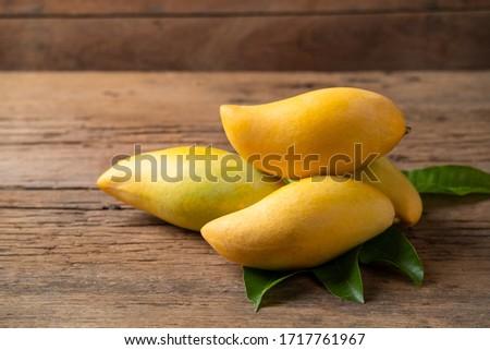 Ripe thai Barracuda Mango fruit (Nam Dok Mai) on wood table background Stock fotó ©