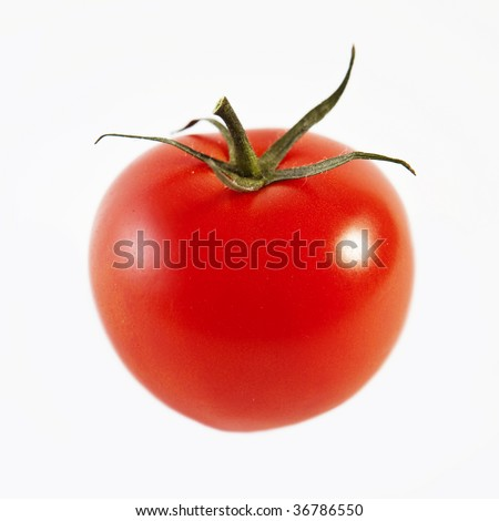 Ripe tomato, isolated on white