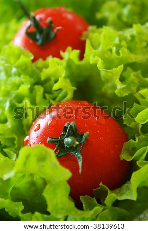 Ripe tomato on a bed of lettuce