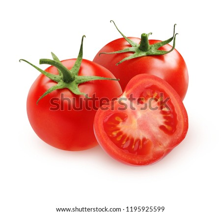 Ripe tomatoes isolated on white background. Two integers vegetable with sepals and cut half.