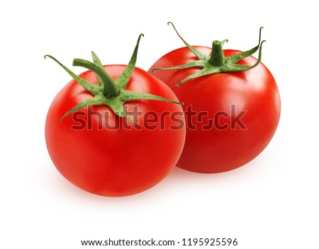 Ripe tomatoes isolated on white background. Two whole vegetables with sepals.