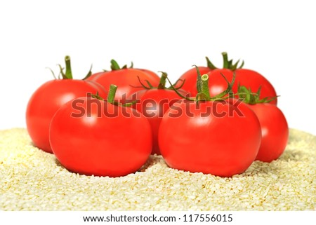 Ripe tomatoes lying on the sesame