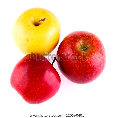 ripe  two red and yellow apple composition isolated
