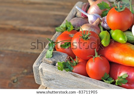 Ripe vegetables in a wooden box