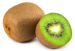 Ripe whole kiwi fruit and half kiwi fruit isolated on white background.