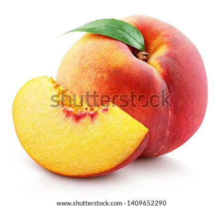Ripe whole peach fruit with green leaf and slice isolated on white background with clipping path. Full depth of field.