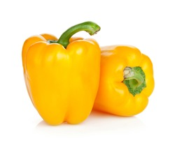 Ripe yellow bell peppers. Isolated on white background