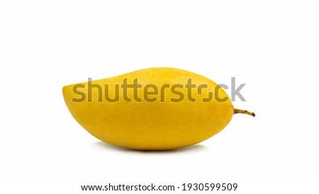 Ripe yellow mango species name Nam Dok Mai. A popular mango native to Thailand. For dessert Mango Niew Rice Isolated on white background Stock fotó ©