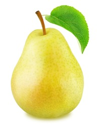 Ripe yellow pear with green leaf isolated
