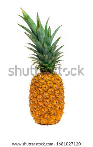 Ripe, yellow pineapple with asymmetric crown isolated on a white background Zdjęcia stock ©