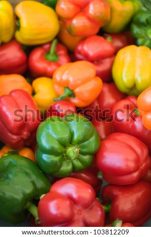 Ripe Yellow, Red, Orange and Green Peppers in Vegetables Market