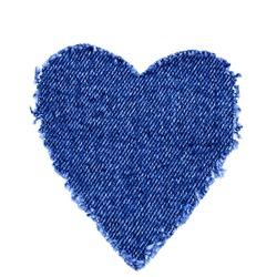 Ripped denim heart frame on white background. Denim jeans fashion background. Destroyed torn denim blue jeans patch