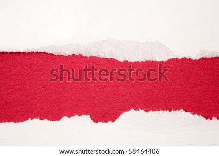 Ripped paper on red background