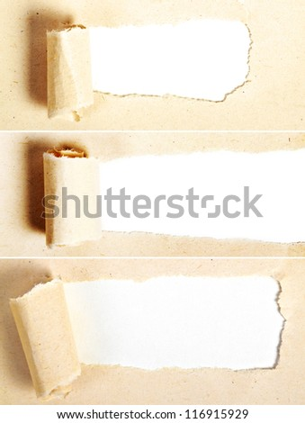 Ripped Recycle Paper with space on white