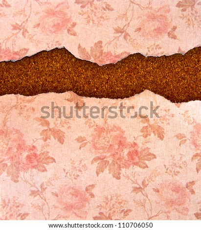 ripped rose pattern paper with vintage