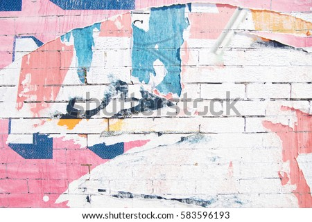 ripped street poster white brick wall background