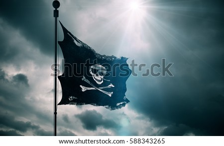 ripped tear grunge old fabric texture of the pirate skull flag waving in wind, calico jack pirate symbol at cloudy sky with sun rays light, dark mystery style, hacker and robber concept