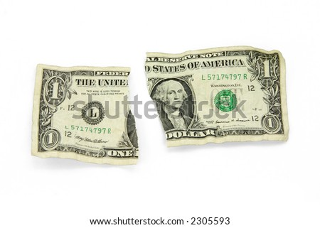 ripped usa dollar with white background