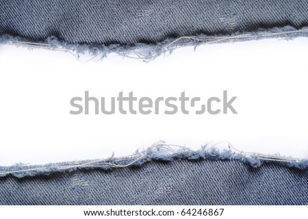 ripped vintage jeans texture over white background