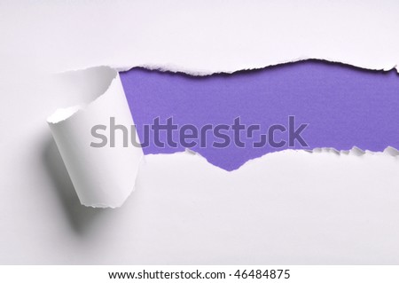 ripped white paper against a purple background