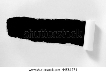 ripped white paper note on white background