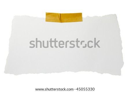 ripped white paper note on white background with clipping path