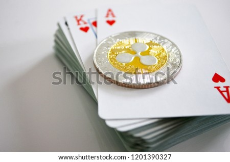 Ripple XRP token with deck of cards Photo stock ©