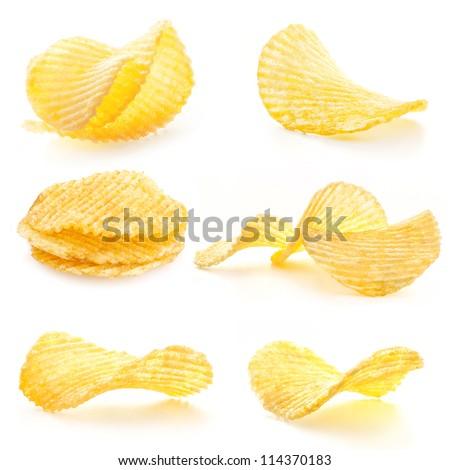 Rippled potato chips isolated on white background