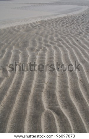 Rippled sand beach at sunset, texture