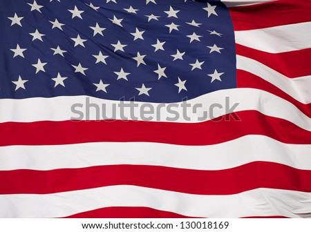 Rippled US Flag Close Up