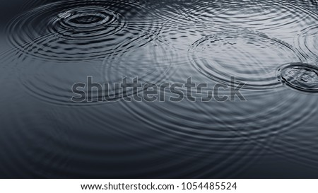 Ripples from Rain Droplets Falling on Water Surface. 3D illustration