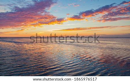 Ripples in the bay water near Skyway Bridge in St. Petersburg, F Stock fotó ©