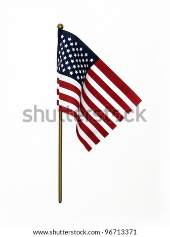 Ripples in US Flag on Pole isolated on white background