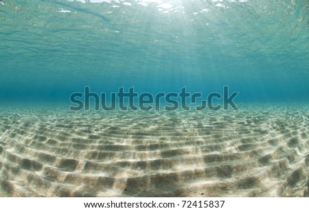 Ripples of sunlight reflected on the sandy ocean floor in clear, shallow water. Naama Bay, Red Sea, Egypt.