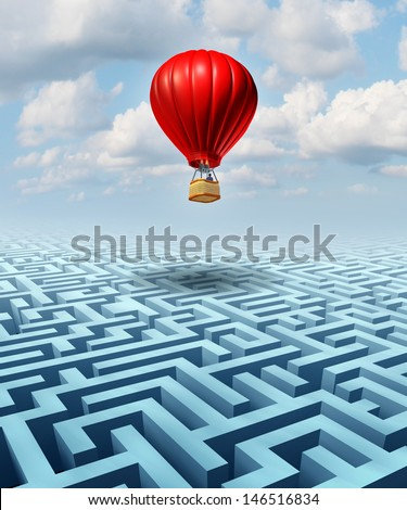 Rise above the challenges of business and life concept with a red hot air balloon and a businessman pilot flying over a confusing maze or labyrinth as a leadership metaphor for conquering adversity.