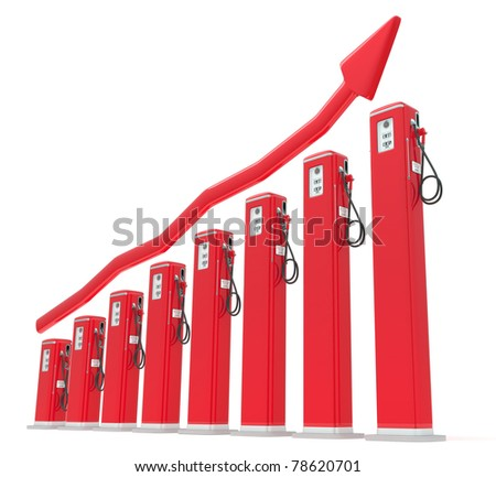 Rise in gas price: petrol pumps chart with red graph isolated on white