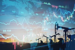 Rise in gasoline prices concept with double exposure of digital screen with financial chart graphs and oil pumps on a field