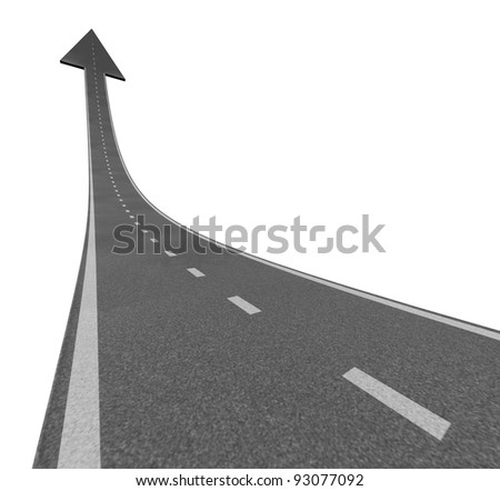 Rise to the top as a road to financial success and moving up with a sky is the limit symbol and a highway road rising with an arrow head pointing upward as a business successful concept.