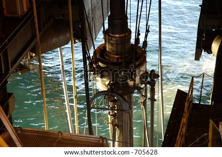 Riser And Heave Compensation On An Offshore Oil Rig Stock
